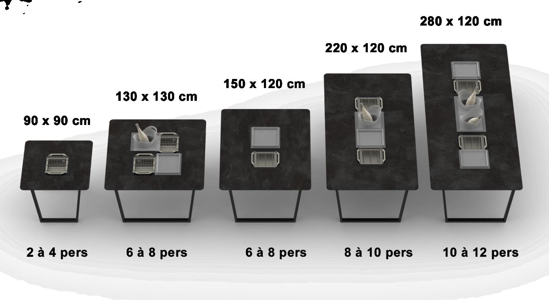 Cevenne table classique taille capacité