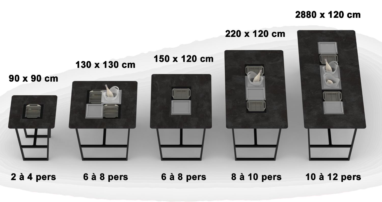 Cevenne table haute taille capacité